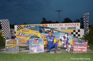 July 1, 2013 - Matt Sheppard's late-race charge in lap 97 takes him to victory lane in the DIRTcar 358-Modfiied Series feature at Cornwall Motor Speedway