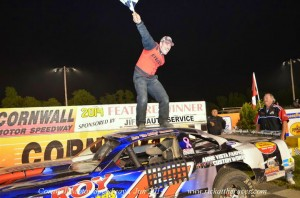 Dave Bissonnette celebrates in victory lane after his win at Cornwall Motor Speedway. Photo by Rick Young