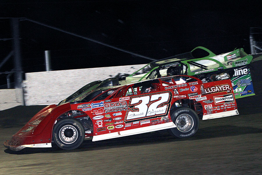 Bobby Pierce holds off Brandon Sheppard for win at Tri-State Speedway - Jim Denhamer photo